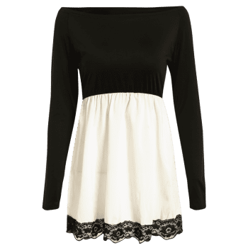 Lace Hem Long Sleeve Skater Mini Tunic Dress - WHITE/BLACK L