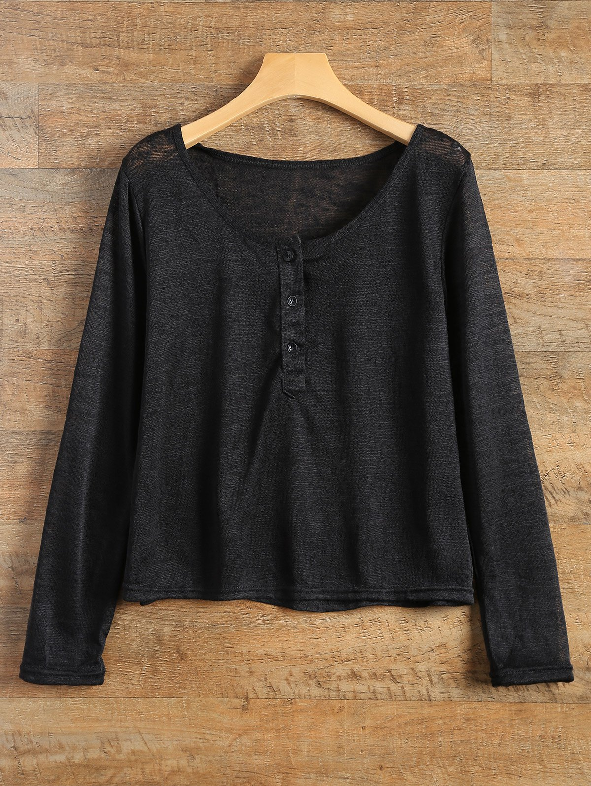 Pullover Long Sleeve Scoop Neck Solid Color Blouse For Women - BLACK XL