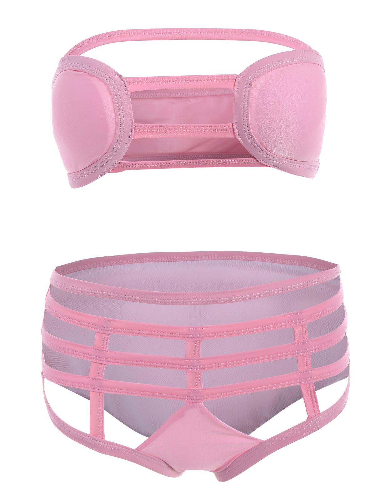 Cut Out Strapless Bathing Suit Bikini Set - SHALLOW PINK L