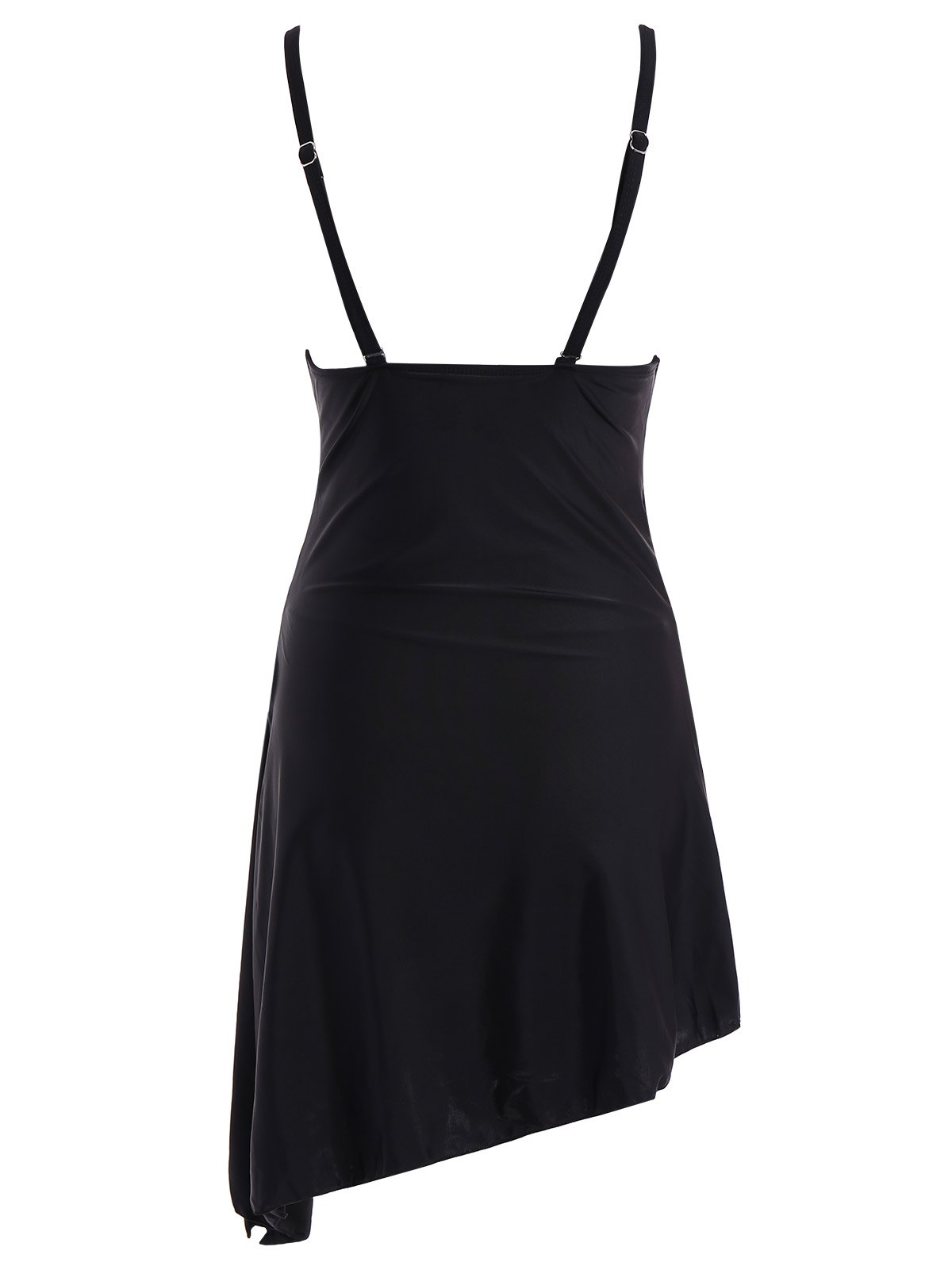 Skirted Plunge One Piece Swimsuit - BLACK 2XL