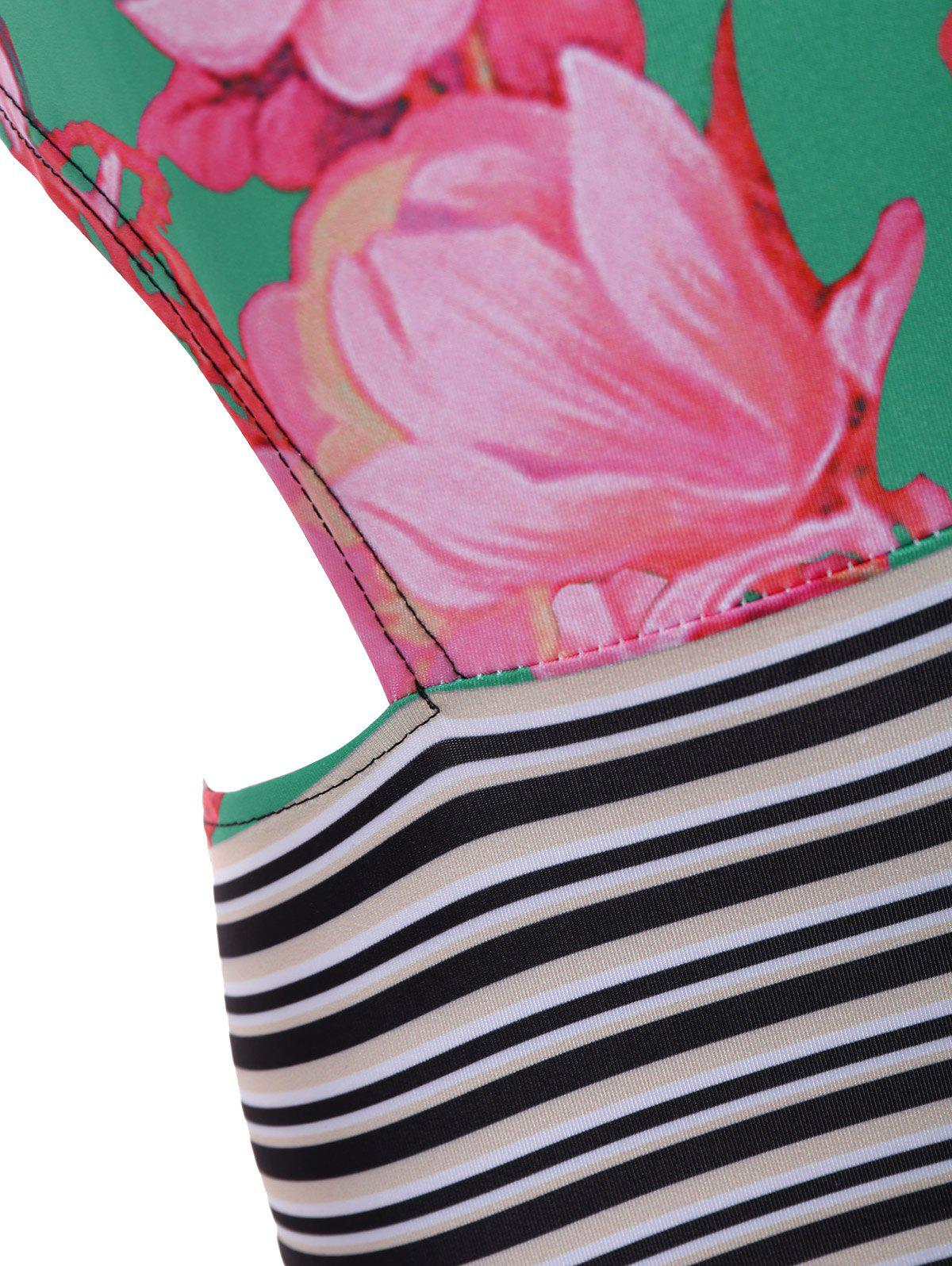 Hollow Out Floral and Stripe Panel One-Piece Swimwear - COLORMIX M