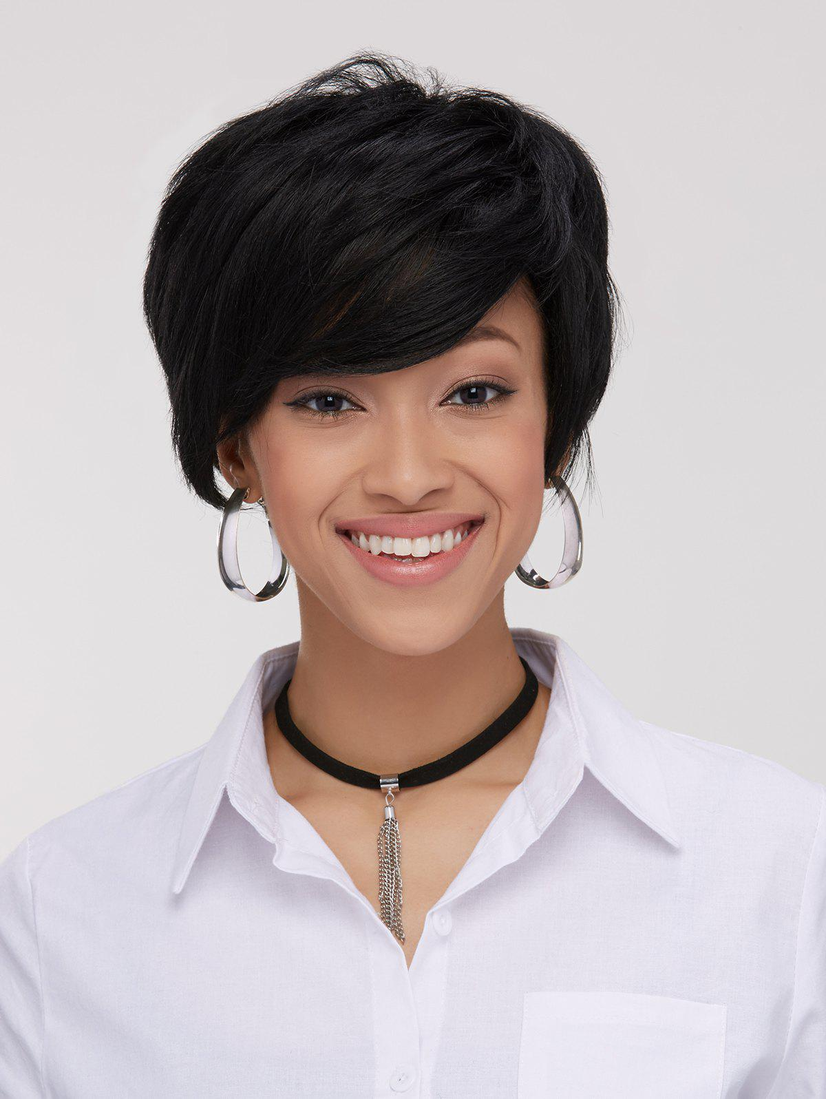 Spiffy Boy Haircut Straight Capless Black Synthetic Womens Wig