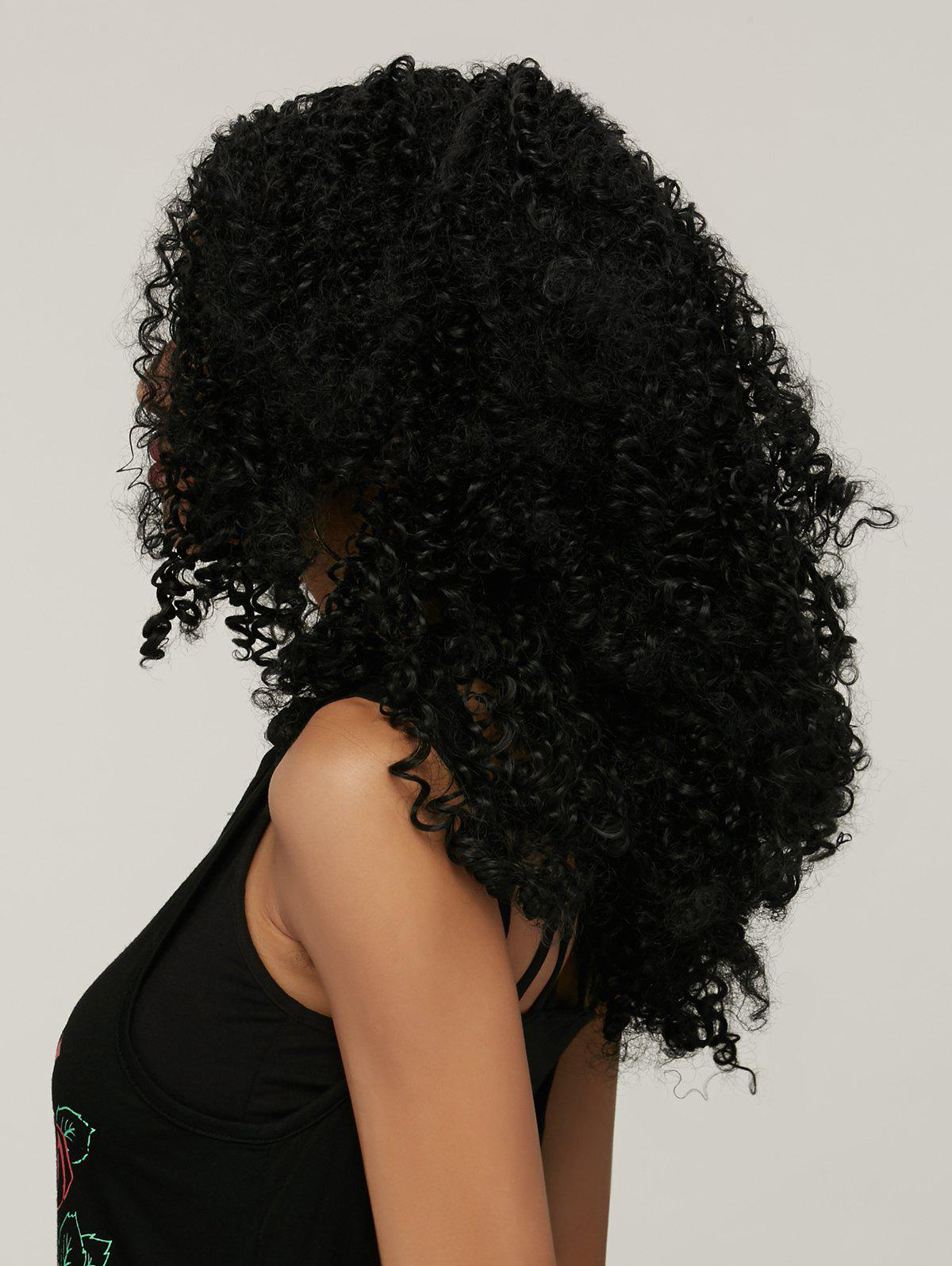Trendy Black Synthetic Shaggy Afro Curly Medium Capless Wig For Women - BLACK