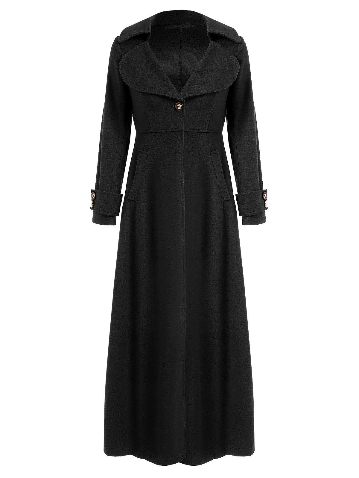 Graceful Solid Color Turn-Down Collar Tunic Maxi Coat For Women ...