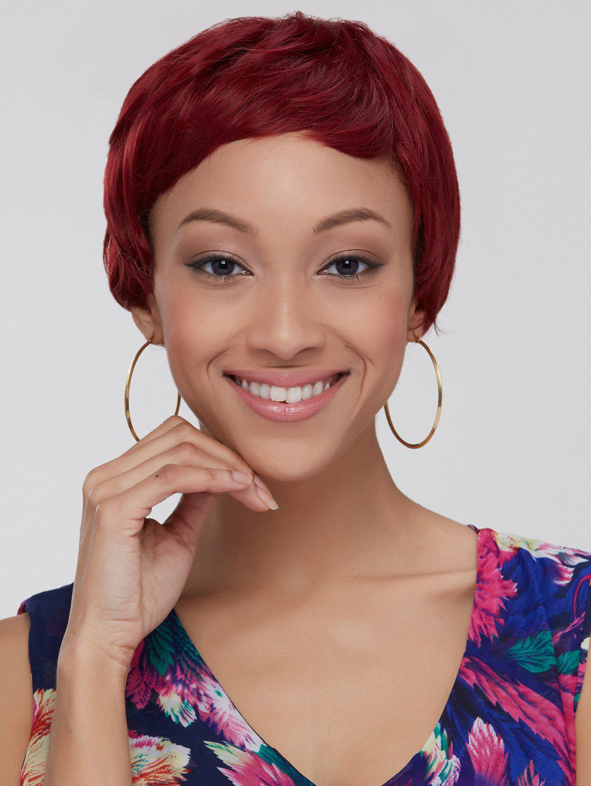 Women's Ultrashort Wine Red Ombre Synthetic Hair Wig
