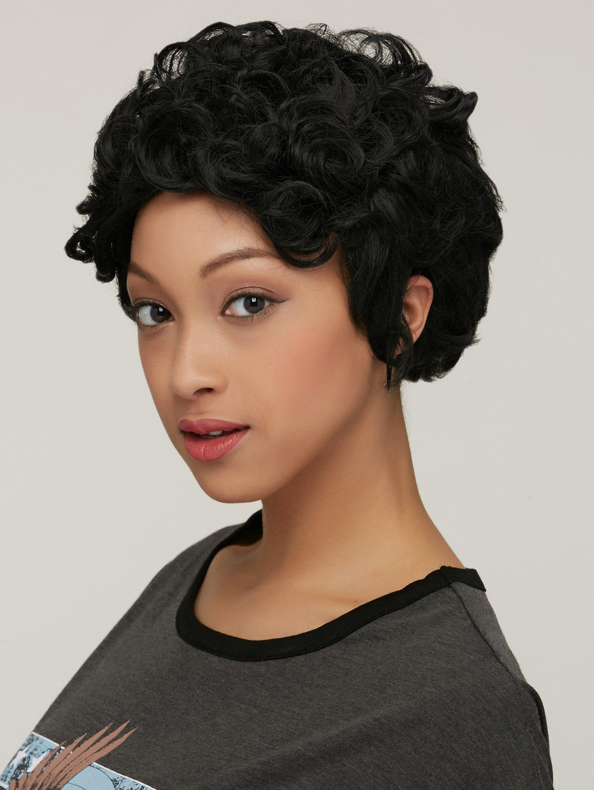 Short Curly High Temperature Fiber Wig - BLACK
