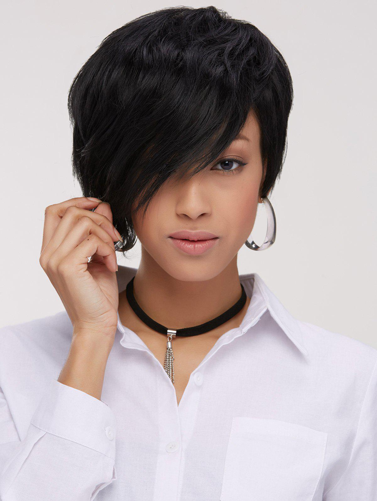 Handsome Short Fluffy Pixie Cut Side Bang Straight Synthetic Wig short pixie cut double color straight side bang synthetic wig