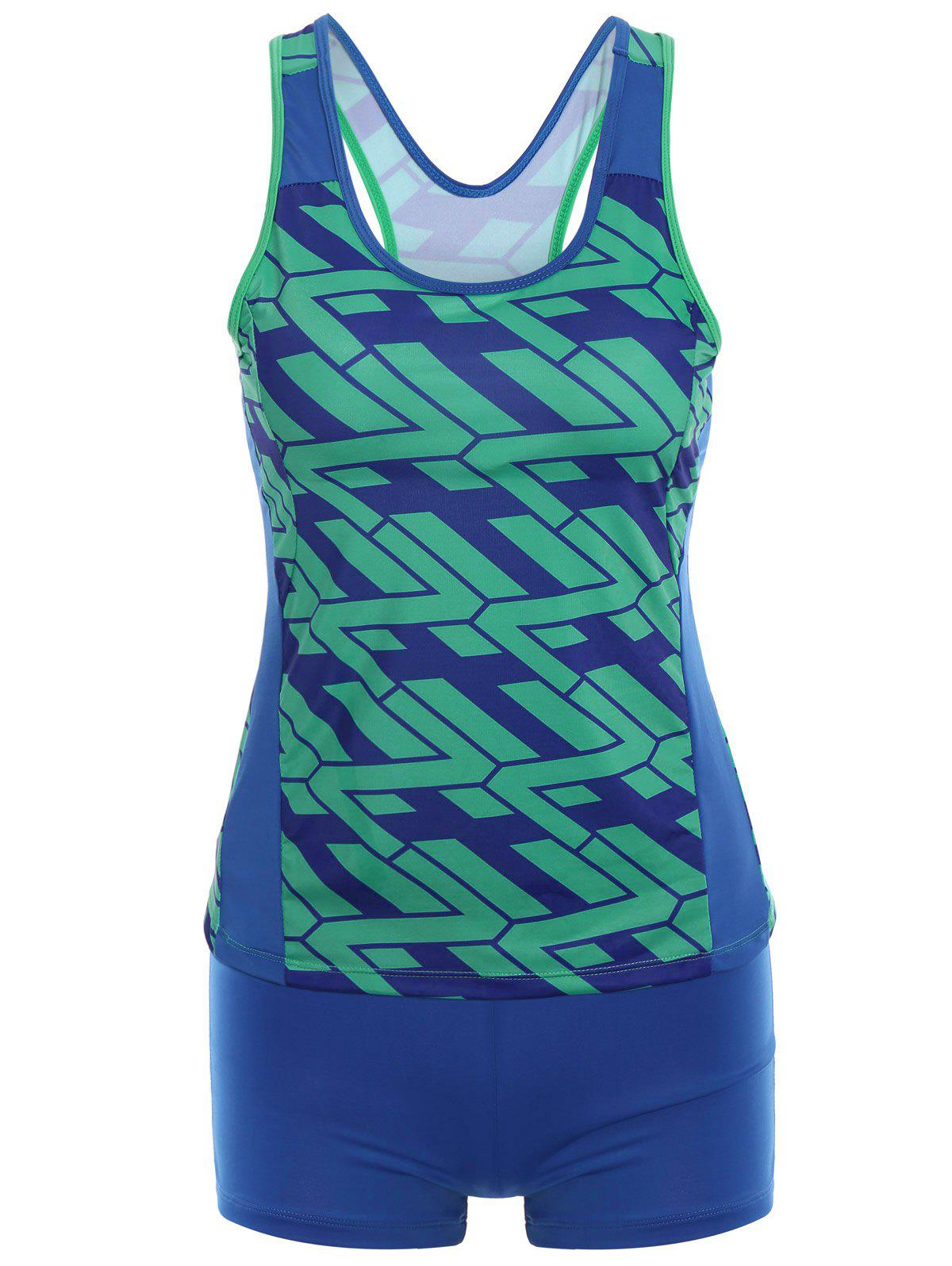 Racer Back Printed Tankini Set