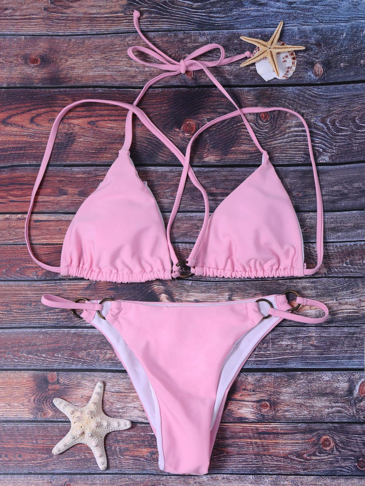 Trendy Halter Pink String Bikini Suit For Women - PINK L