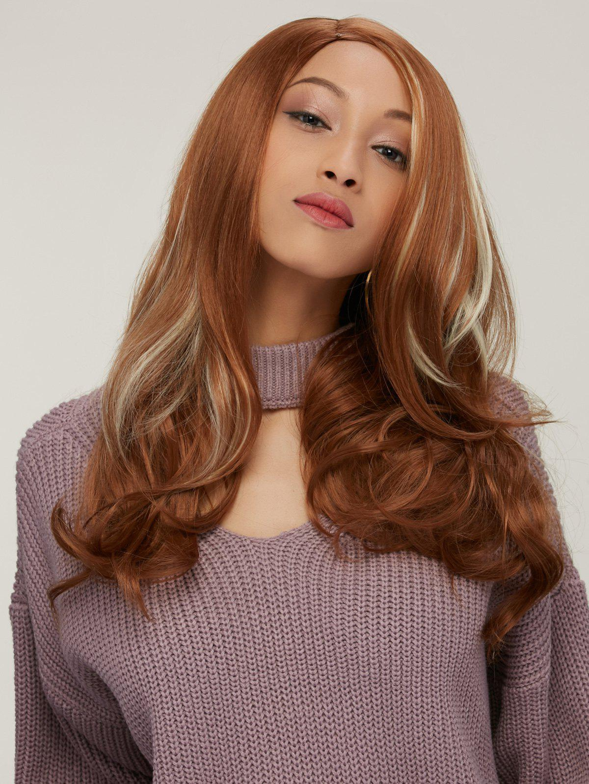 Synthetic Long Wavy Side Parting Colormix Wig long side parting fluffy layered wavy synthetic wig