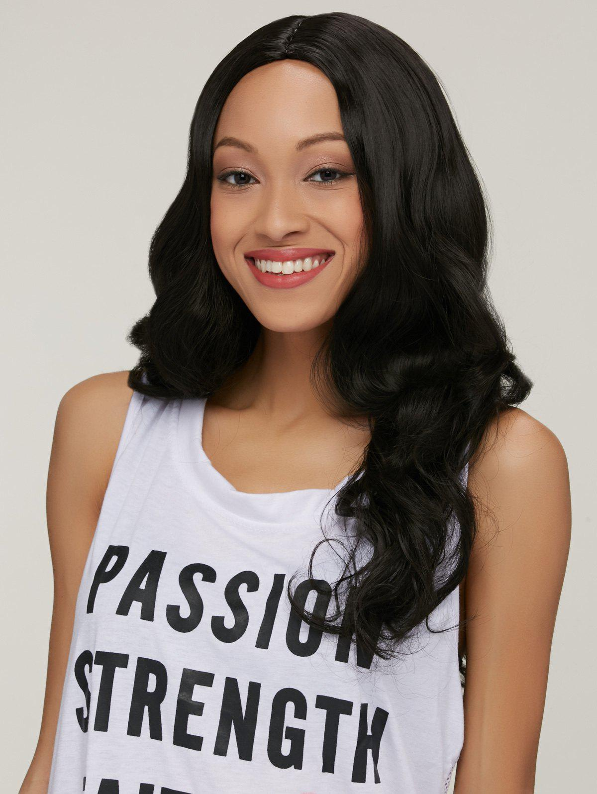 Wavy Long Middle Part Synthetic Hair Wig - BLACK