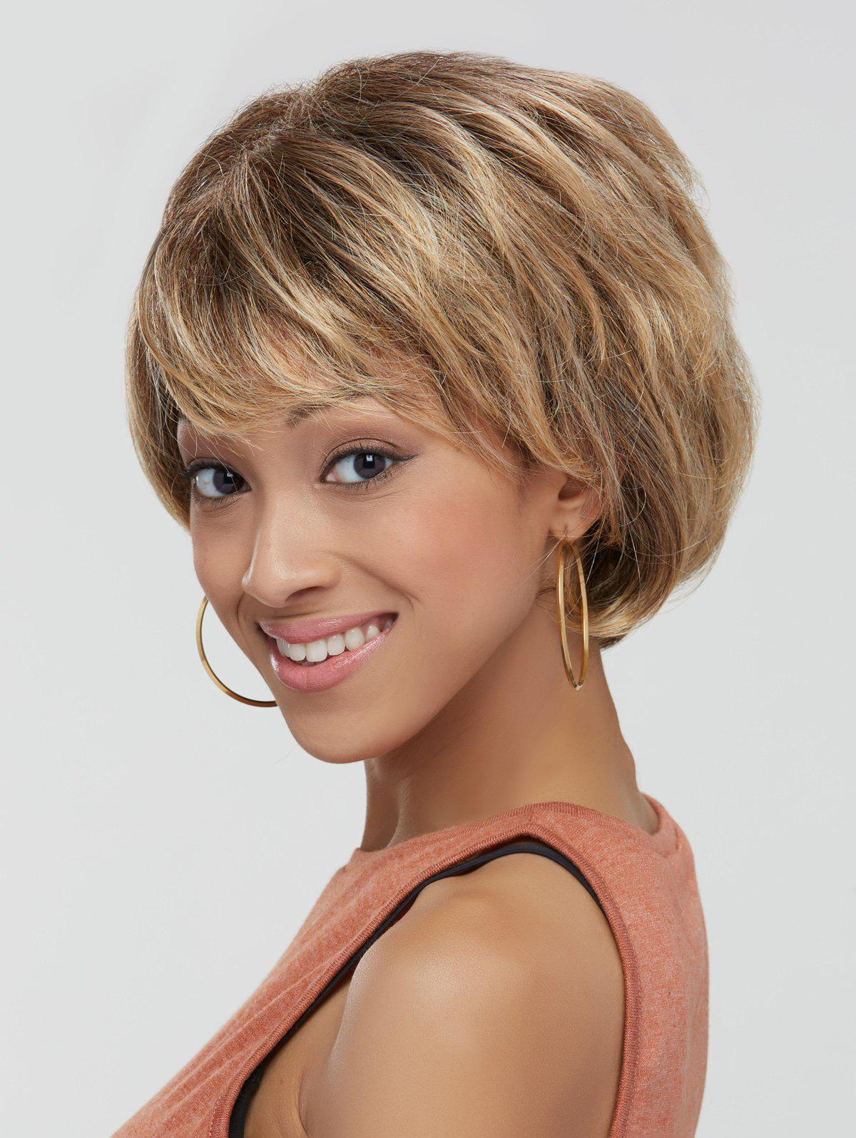 Fluffy Wave Short Layered Cut Stunning Mixed Color Synthetic Wig - COLORMIX