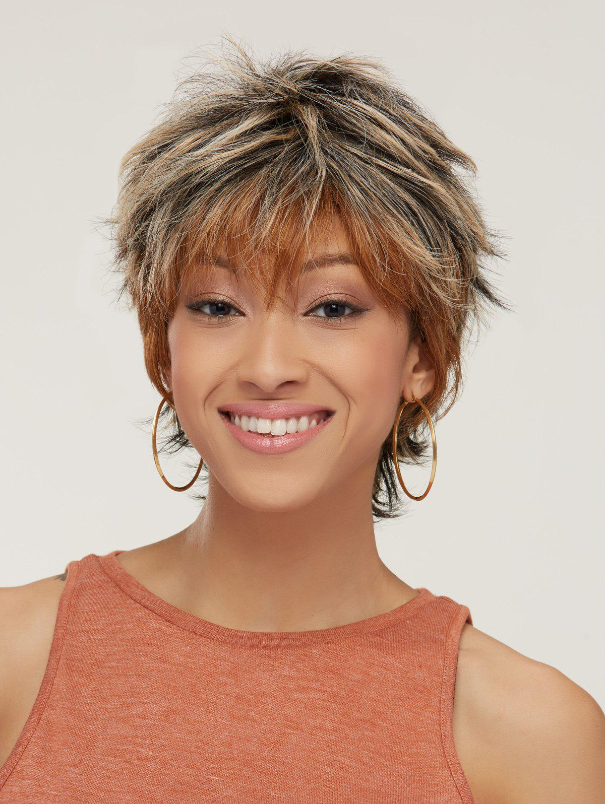 Short Fluffy Mixed Color Slightly Curled Side Bang Synthetic Wig short fluffy slightly curled side bang synthetic wig