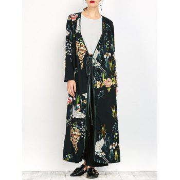 Ankle Length Print Wrap Coat