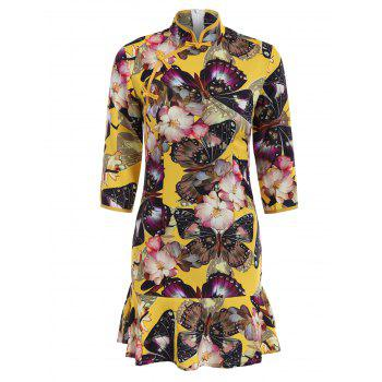 Mandarin Collar Frog Button Butterfly Print Dress