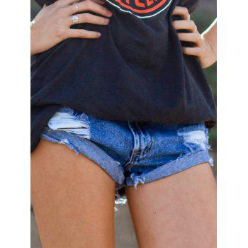 High Waist Ripped Bleach Wash Shorts