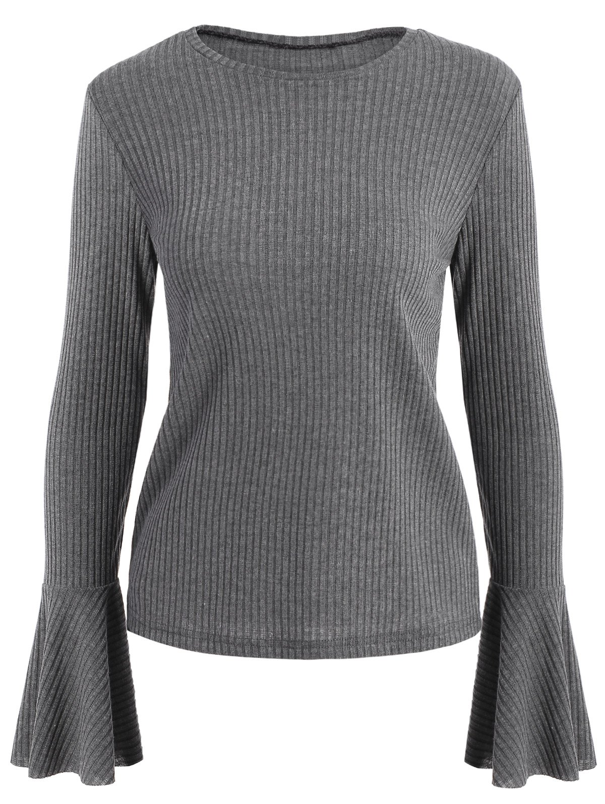 Crew Neck Flare Sleeve Ribbed Sweater