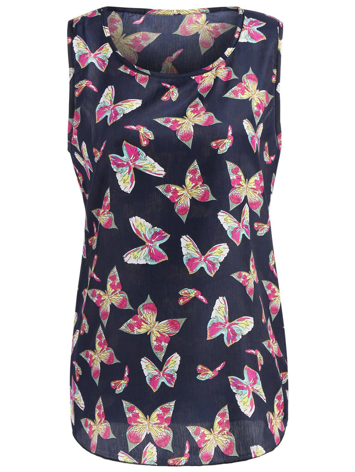 Scoop Neck Butterfly Print Chiffon Top