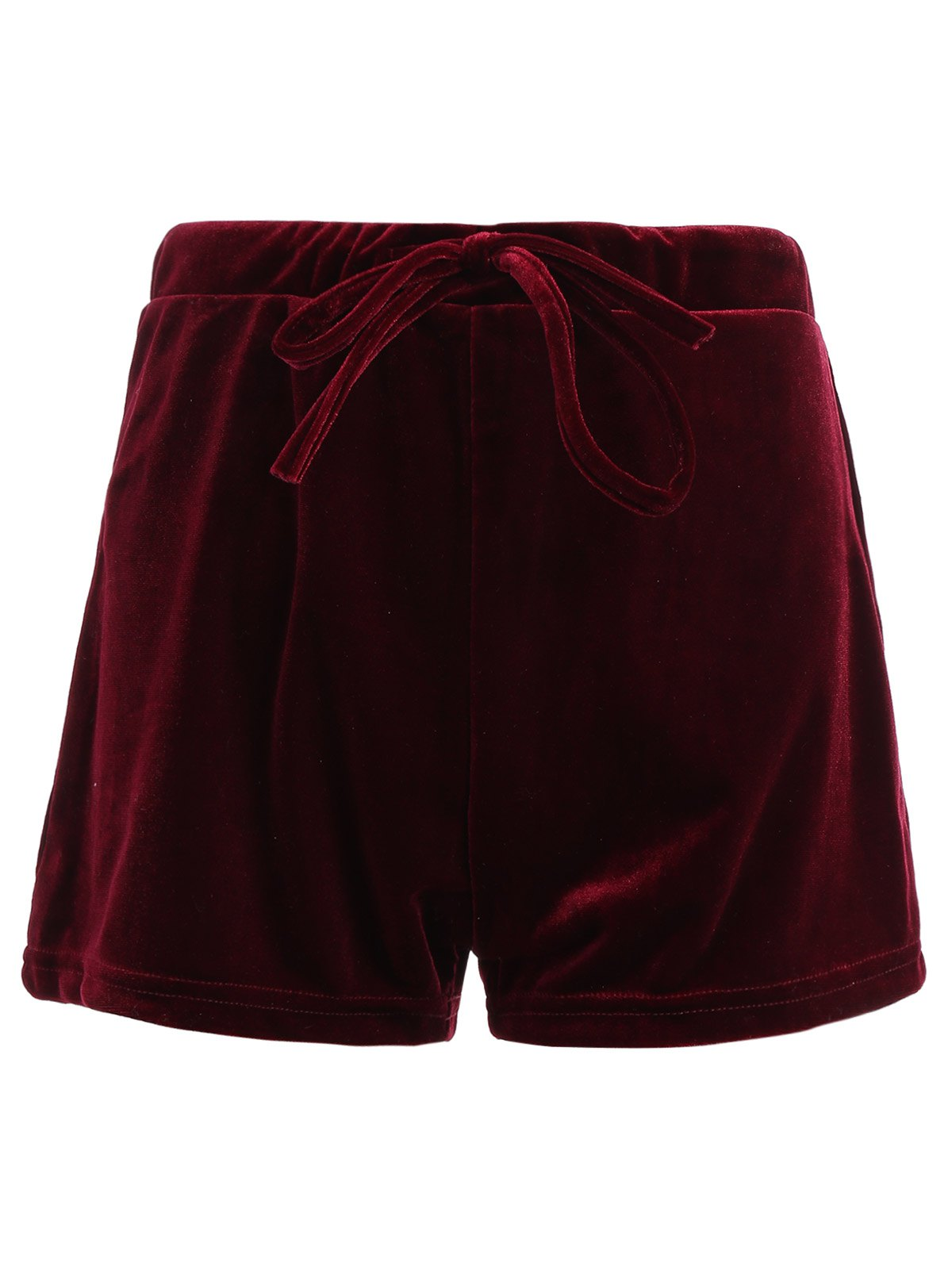 Drawstring Velevt Mini Shorts - WINE RED S