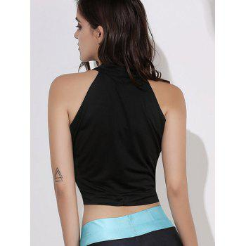 Sexy Stand-Up Collar Sleeveless Lace-Up Solid Color Women's Crop Top - L L