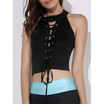 Sexy Stand-Up Collar Sleeveless Lace-Up Solid Color Women's Crop Top - BLACK L