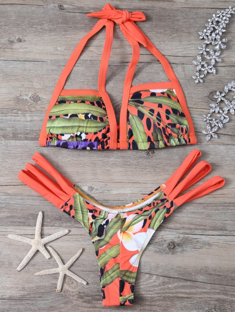 Printed Cut Out Bikini Set For Women - COLORMIX S
