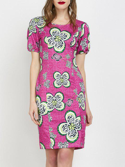 Flower Jacquard Fitted Dress - PLUM L