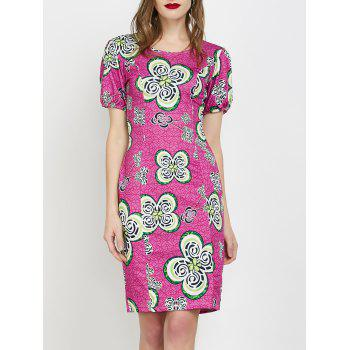Flower Jacquard Fitted Dress