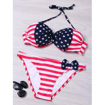 American Flag Print Bikini Set with Bowknot