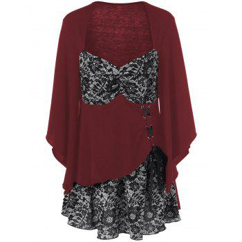 Lace-Up Floral Trim Layered Blouse