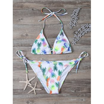 Halter Pineapple Printed Bikini Set