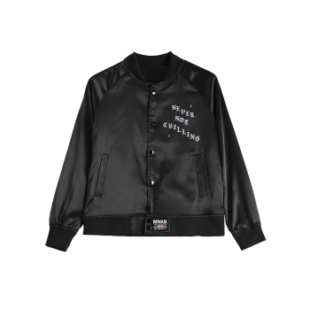 Stand Neck Letter Print Single-Breasted Bomber Jacket