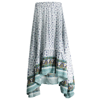 Bohemian Patterned High Low Maxi Skirt WHITE