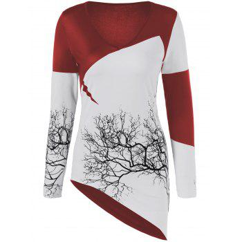 Tree Print Asymmetric Two Tone T-Shirt