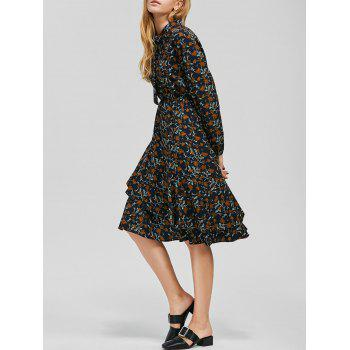 Long Sleeve Floral Midi Shirt Flounce Dress