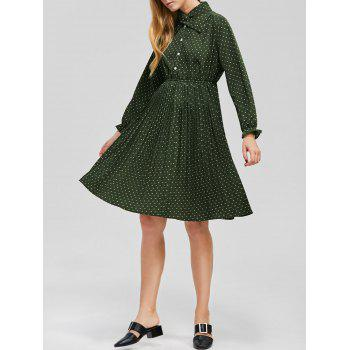 Elastic Waist Polka Dot Pleated Dress with Sleeves