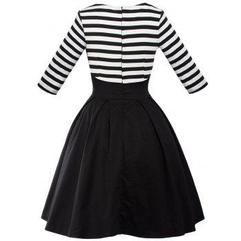 Retro Lace Up Stripe Swing Flare Dress - BLACK 2XL