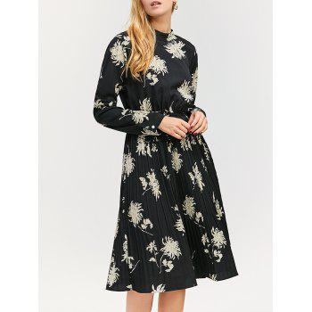 Long Sleeve Floral Pleated Midi Dress