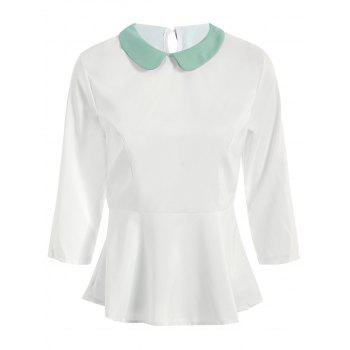Sweet Women's Peter Pan Collar 3/4 Sleeve Flounced Blouse