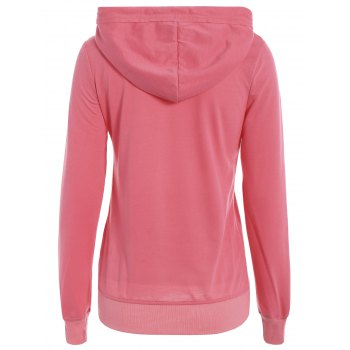 Simple Long Sleeve Hooded Pocket Design Women's Hoodie - M M