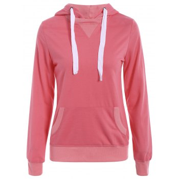 Simple Long Sleeve Hooded Pocket Design Women's Hoodie - WATERMELON RED M