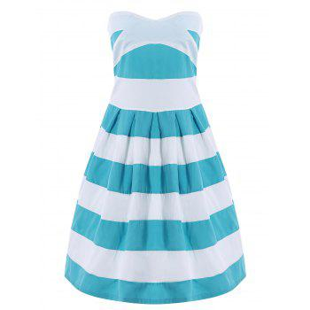 Strapless Color Block Striped Dress