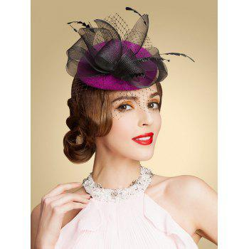 Fascinator Mesh Yarn Embellished Pillbox Hat