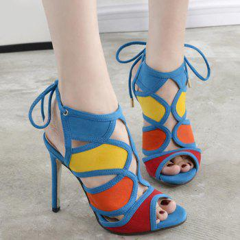 Color Block Cut Out Sandals