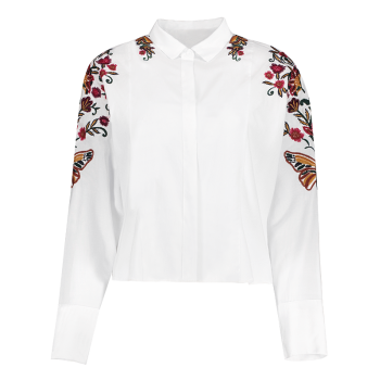 Flower Embroidered Cropped Shirt - WHITE L