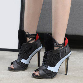 Lace Up Mesh Panel Peep Toe Shoes - Noir 37
