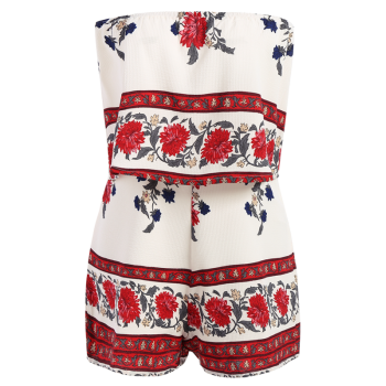 Stylish Strapless Floral Print Women's Romper