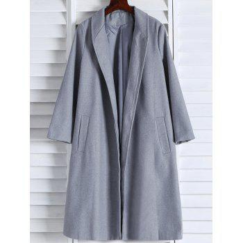Shawl Neck Gray Wool Blend Coat