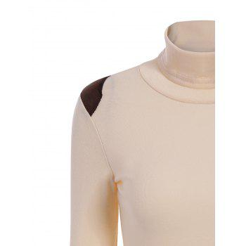 Turtle Neck Splicing Bead Sweater - LIGHT APRICOT ONE SIZE