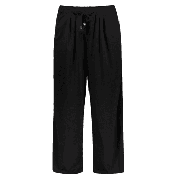 Elastic Waist Palazzo Pants with Pockets - BLACK 4XL